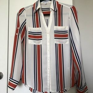 Express striped portofino shirt xs